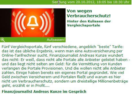 Bild  Andreas Kunze WDR Vergleichsportale2 WDR, 20.10.12 Vergleichsportale