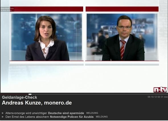 Bild  Kunze NTV 121009 N TV, 9.10.12: Geldanlage für Kinder