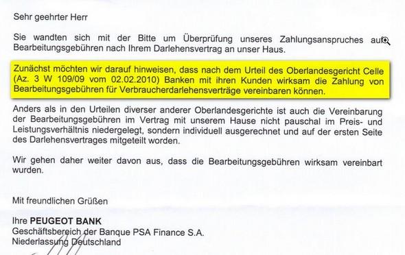 Kreditbearbeitungsgebühren? Peugeot-Bank nennt Urteil